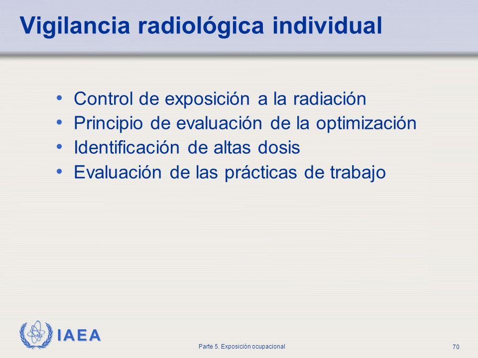 IAEA Parte 5. Exposición ocupacional 70 Vigilancia radiológica individual Control de exposición a la radiación Principio de evaluación de la optimizac