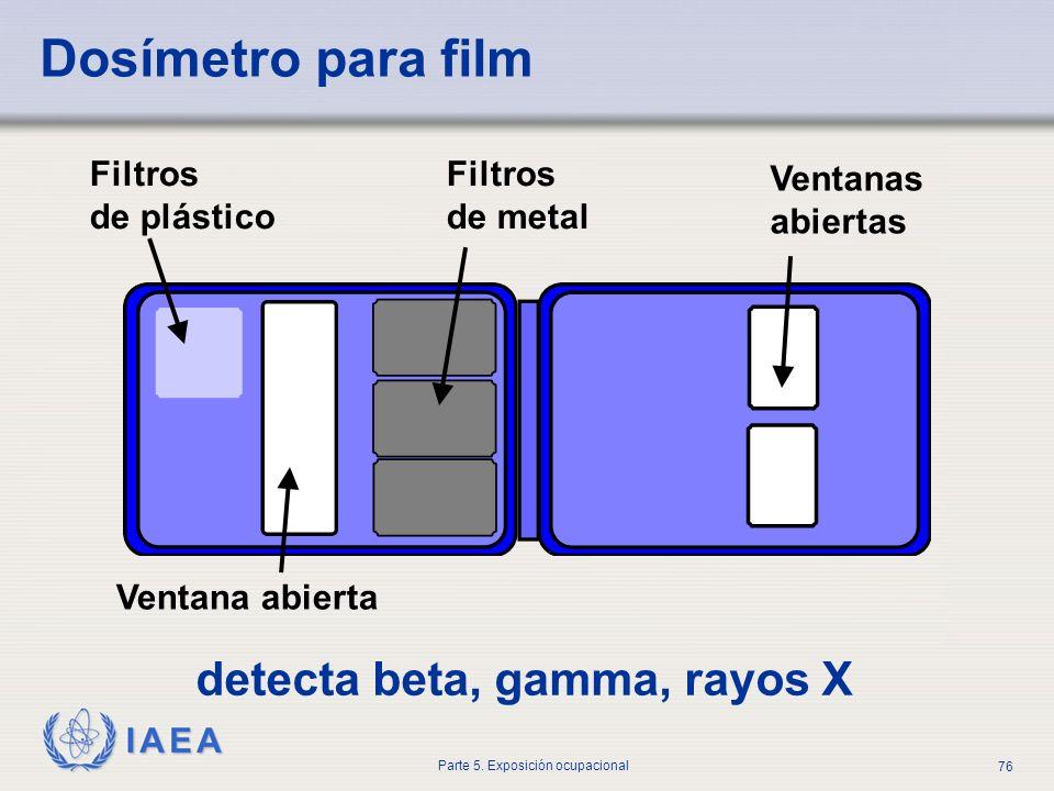 IAEA Parte 5. Exposición ocupacional 76 Dosímetro para film Filtros de plástico Filtros de metal Ventanas abiertas Ventana abierta detecta beta, gamma