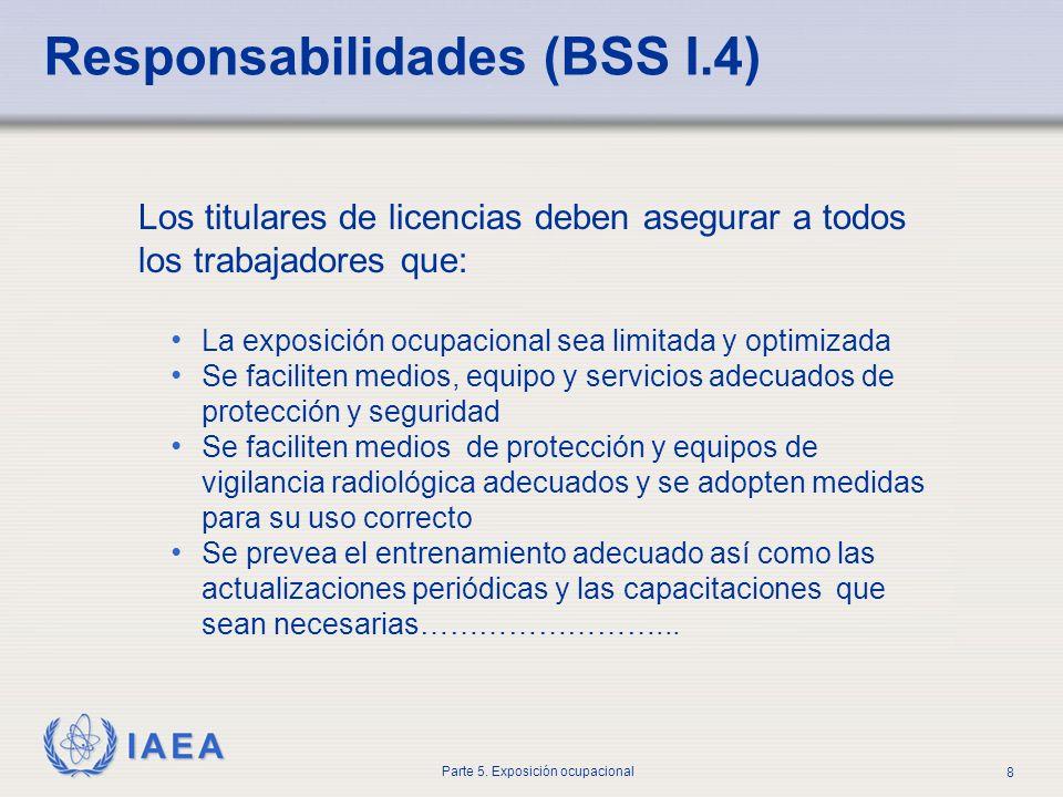 IAEA Parte 5. Exposición ocupacional 8 Los titulares de licencias deben asegurar a todos los trabajadores que: La exposición ocupacional sea limitada
