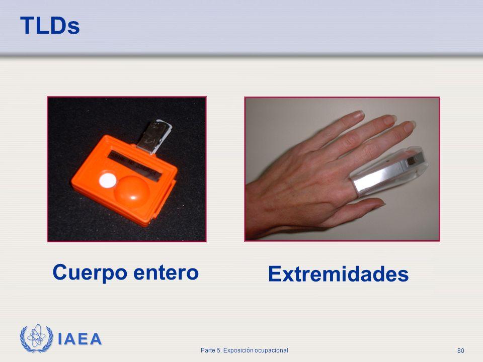 IAEA Parte 5. Exposición ocupacional 80 TLDs Cuerpo entero Extremidades