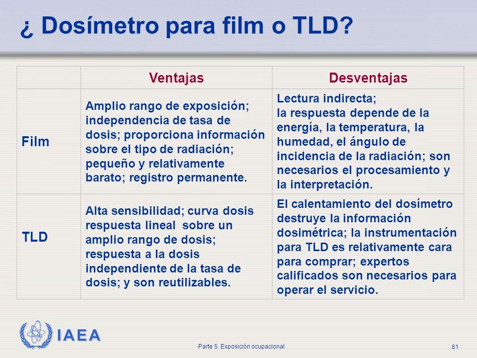 IAEA Parte 5. Exposición ocupacional 81 ¿ Dosímetro para film o TLD? VentajasDesventajas Film Amplio rango de exposición; independencia de tasa de dos