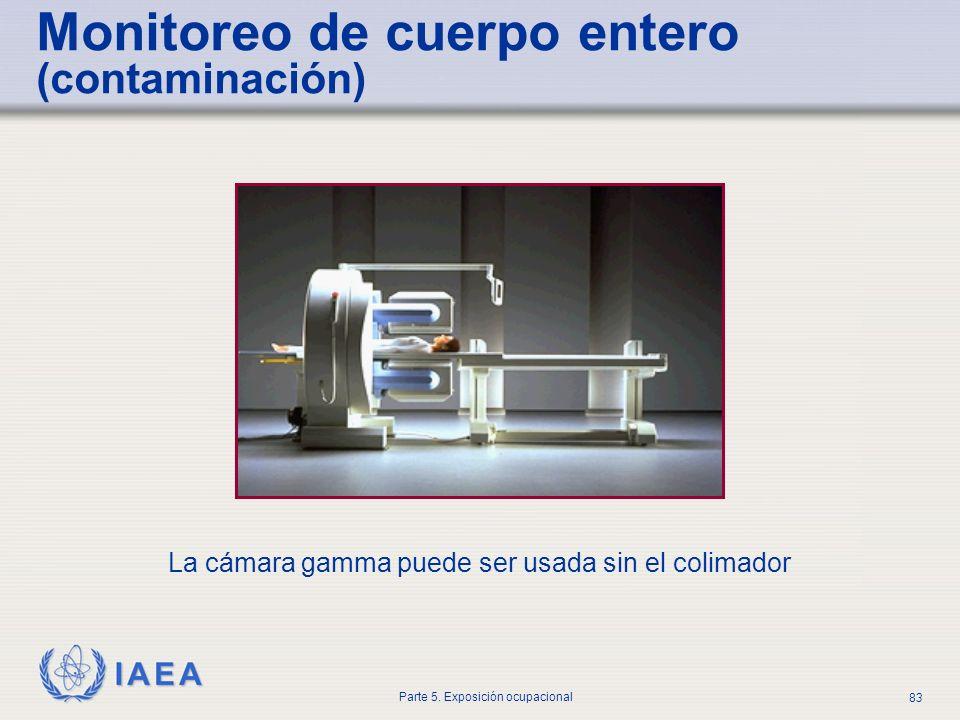 IAEA Parte 5. Exposición ocupacional 83 Monitoreo de cuerpo entero (contaminación) La cámara gamma puede ser usada sin el colimador