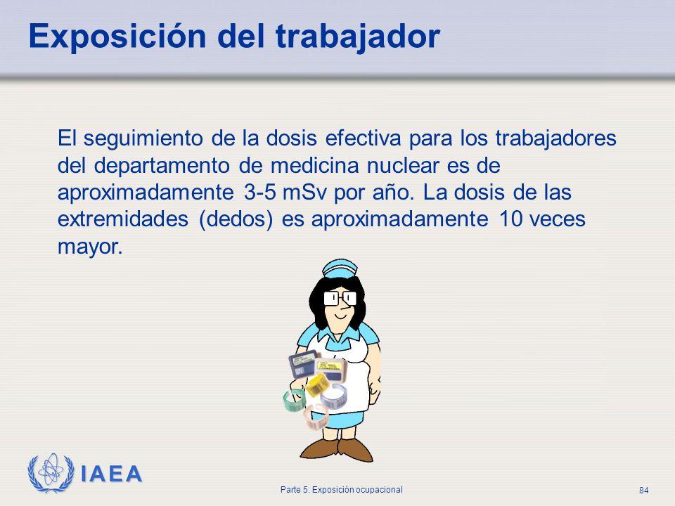 IAEA Parte 5. Exposición ocupacional 84 Exposición del trabajador El seguimiento de la dosis efectiva para los trabajadores del departamento de medici