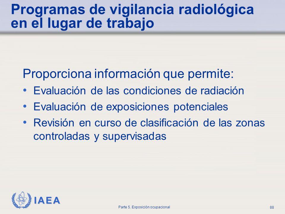 IAEA Parte 5. Exposición ocupacional 88 Programas de vigilancia radiológica en el lugar de trabajo Proporciona información que permite: Evaluación de