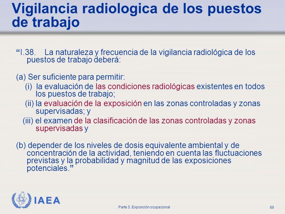 IAEA Parte 5. Exposición ocupacional 89 Vigilancia radiologica de los puestos de trabajo I.38. La naturaleza y frecuencia de la vigilancia radiológica