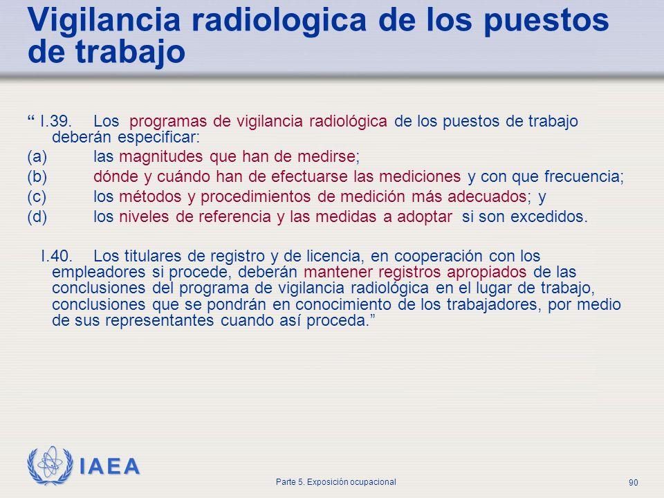 IAEA Parte 5. Exposición ocupacional 90 I.39. Los programas de vigilancia radiológica de los puestos de trabajo deberán especificar: (a) las magnitude