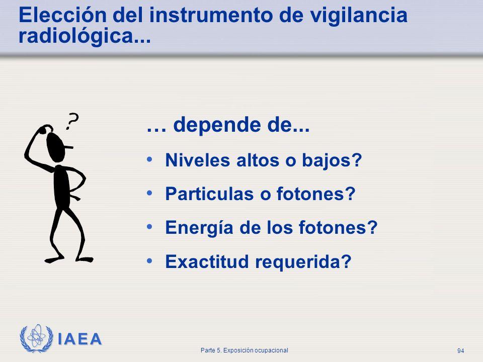 IAEA Parte 5. Exposición ocupacional 94 … depende de... Niveles altos o bajos? Particulas o fotones? Energía de los fotones? Exactitud requerida? Elec