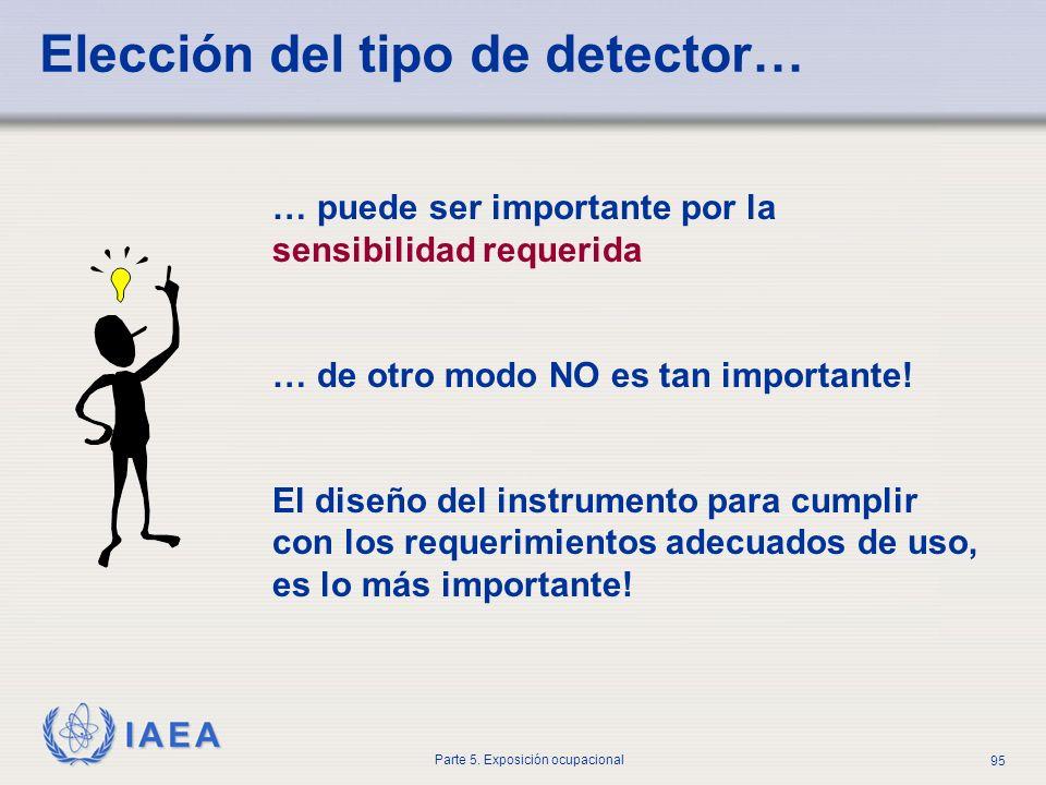 IAEA Parte 5. Exposición ocupacional 95 Elección del tipo de detector… … puede ser importante por la sensibilidad requerida … de otro modo NO es tan i