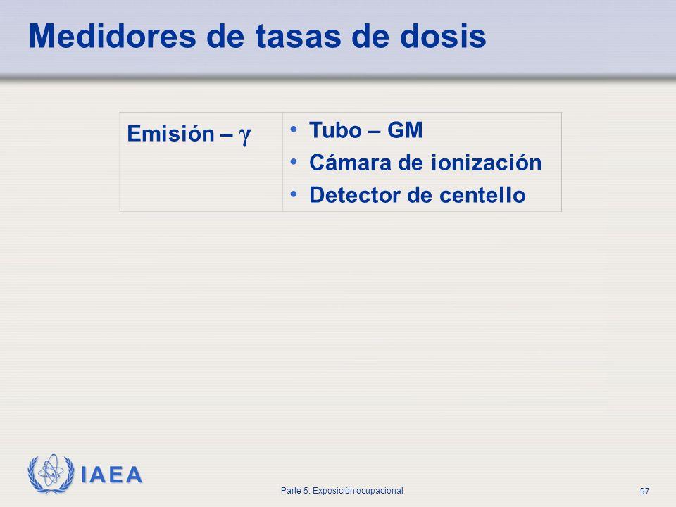 IAEA Parte 5. Exposición ocupacional 97 Medidores de tasas de dosis Emisión – γ Tubo – GM Cámara de ionización Detector de centello