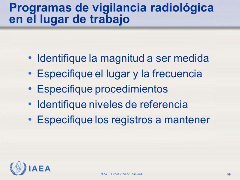 IAEA Parte 5. Exposición ocupacional 99 Programas de vigilancia radiológica en el lugar de trabajo Identifique la magnitud a ser medida Especifique el