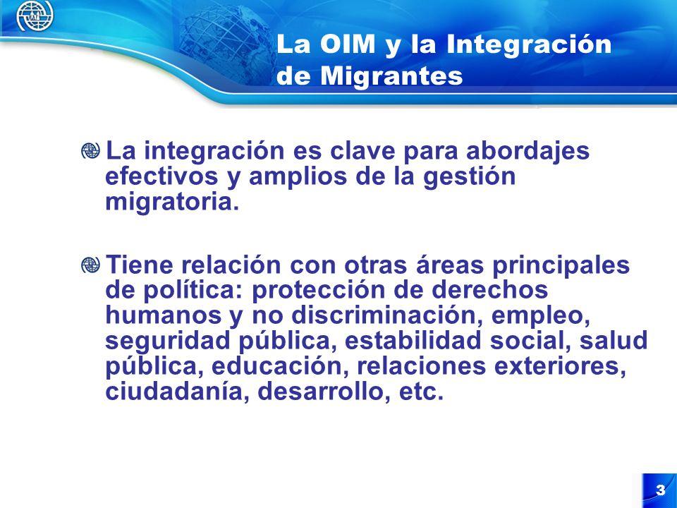 4 La OIM y la Integración de Migrantes (2) Los efectos positivos de la inmigración pueden ser reforzados con políticas y estrategias para apoyar la inclusión social, económica y cultural de los/las inmigrantes en su nuevo medio en países de destino, y con políticas y estrategias para educar a las comunidades receptoras sobre las diversas contribuciones de los/las inmigrantes.