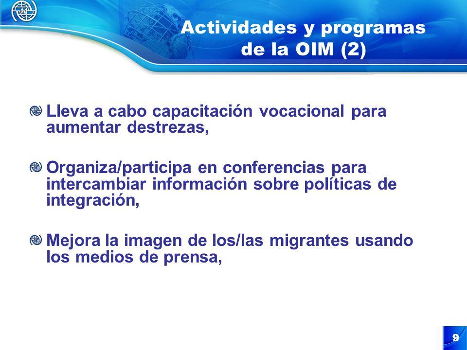 Actividades y programas de la OIM (3) Organiza eventos de sensibilización y capacitación legal para abogados/jueces/ fiscales sobre prácticas no-discriminatorias/ acceso a la justicia, Implementa proyectos de reintegración para grupos étnicos de retornados, Mejora las condiciones de salud de migrantes.