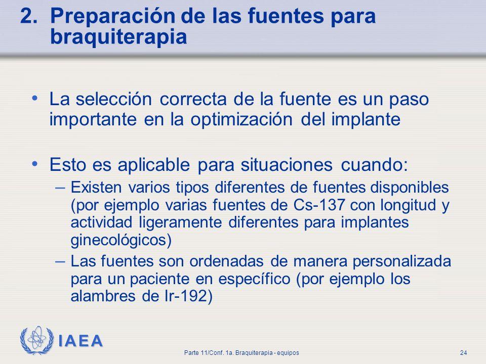 IAEA Parte 11/Conf. 1a. Braquiterapia - equipos25 Necesidad de un plan de pre-implante
