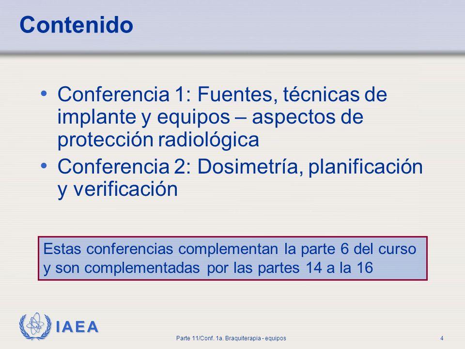 IAEA International Atomic Energy Agency OIEA Material de Entrenamiento en Protección Radiológica en Radioterapia PROTECCIÓN RADIOLÓGICA EN RADIOTERAPIA Parte 11 Exposición Médica: Braquiterapia Conferencia 1: Fuentes, técnicas de implante y equipos