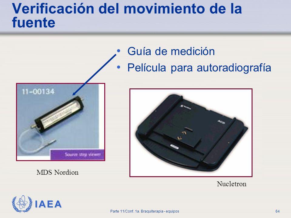IAEA Parte 11/Conf. 1a. Braquiterapia - equipos64 Verificación del movimiento de la fuente Guía de medición Película para autoradiografía MDS Nordion