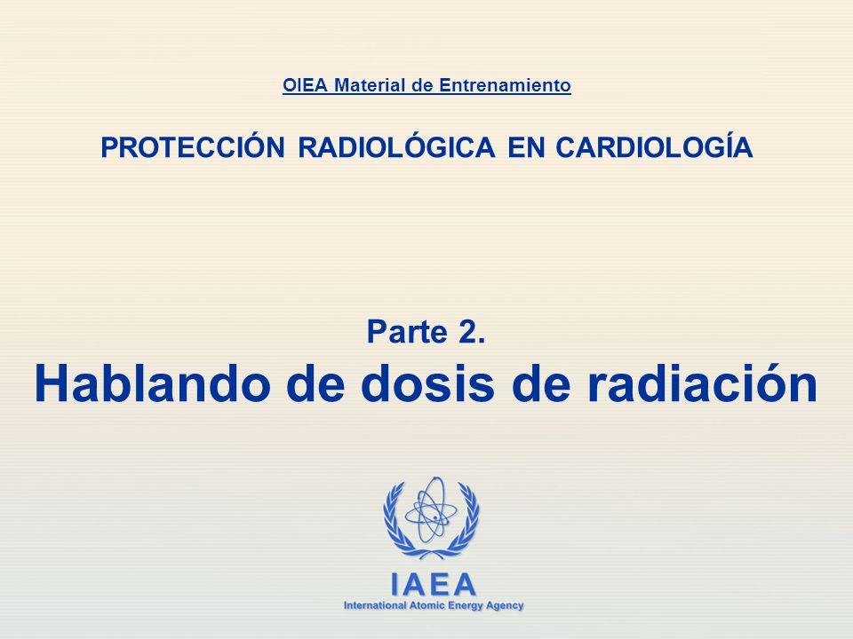 IAEA Exposición: X La unidad de exposición en el Sistema Internacional (SI) es Culombio por kilogramo (C kg -1 ) La unidad antigua de exposición era el Roentgen (R) 1 R = 2.58 × 10 -4 C kg -1 1 C kg -1 = 3876 R Parte 2.
