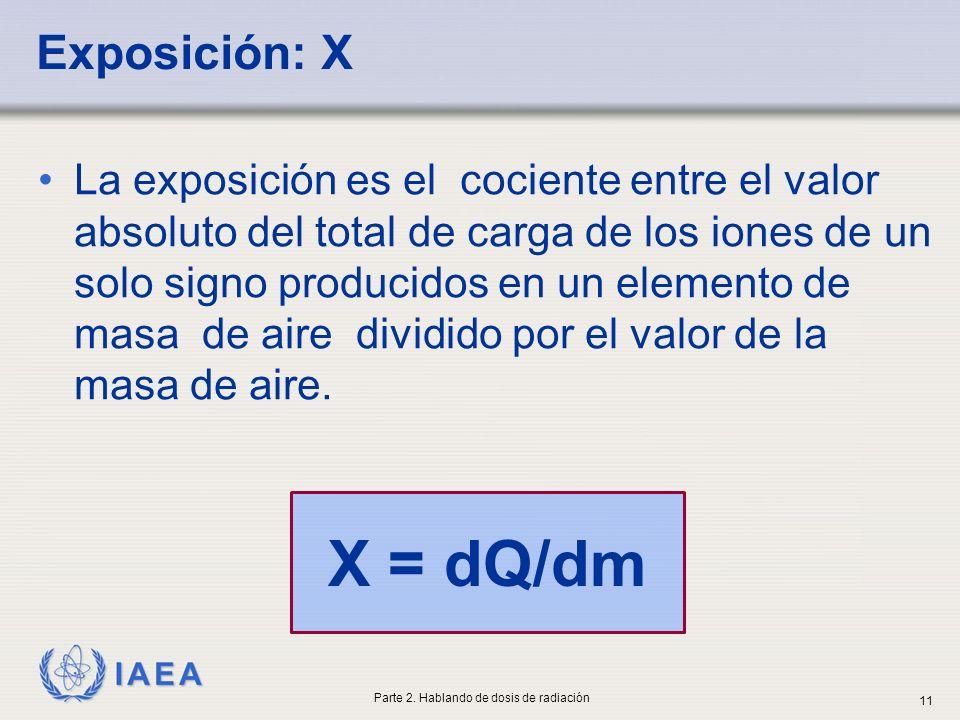 IAEA X = dQ/dm Exposición: X La exposición es el cociente entre el valor absoluto del total de carga de los iones de un solo signo producidos en un el