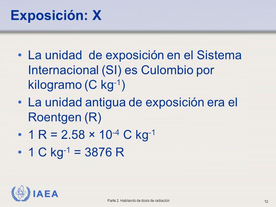 IAEA Exposición: X La unidad de exposición en el Sistema Internacional (SI) es Culombio por kilogramo (C kg -1 ) La unidad antigua de exposición era e