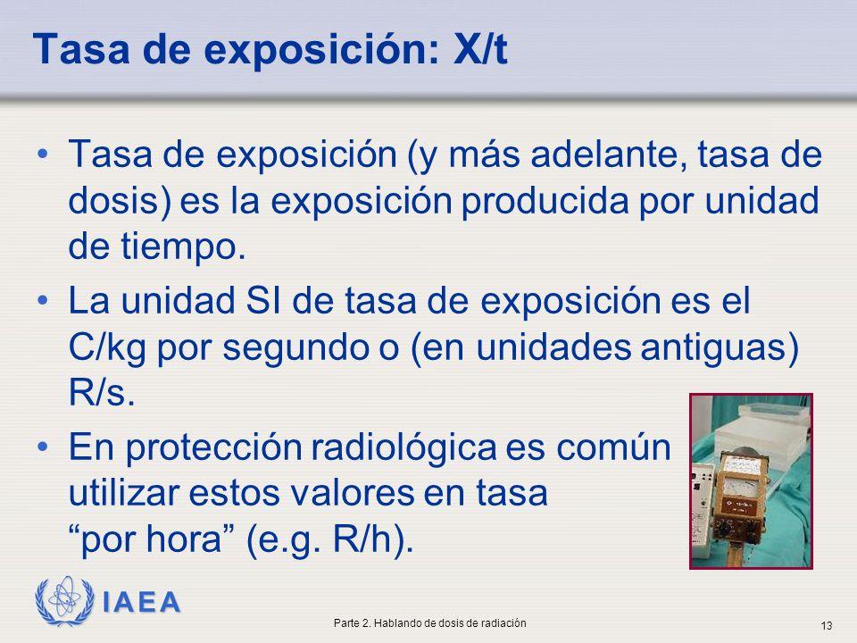 IAEA Tasa de exposición: X/t Tasa de exposición (y más adelante, tasa de dosis) es la exposición producida por unidad de tiempo. La unidad SI de tasa