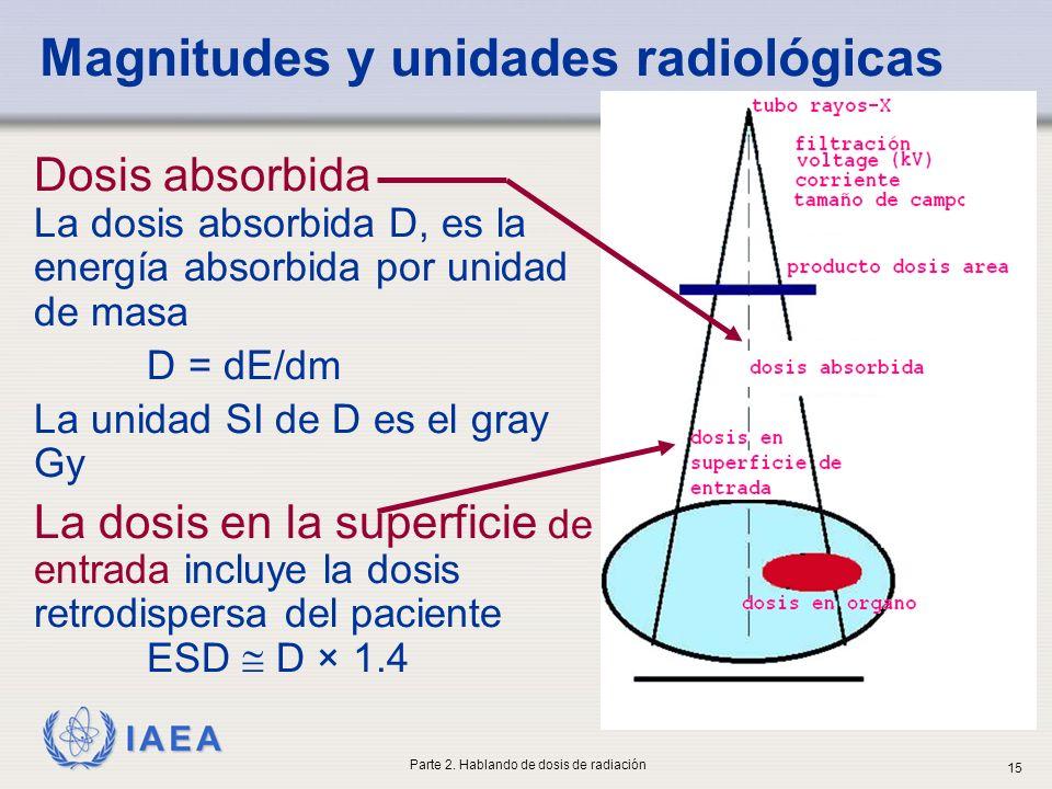 IAEA Magnitudes y unidades radiológicas Dosis absorbida La dosis absorbida D, es la energía absorbida por unidad de masa D = dE/dm La unidad SI de D e