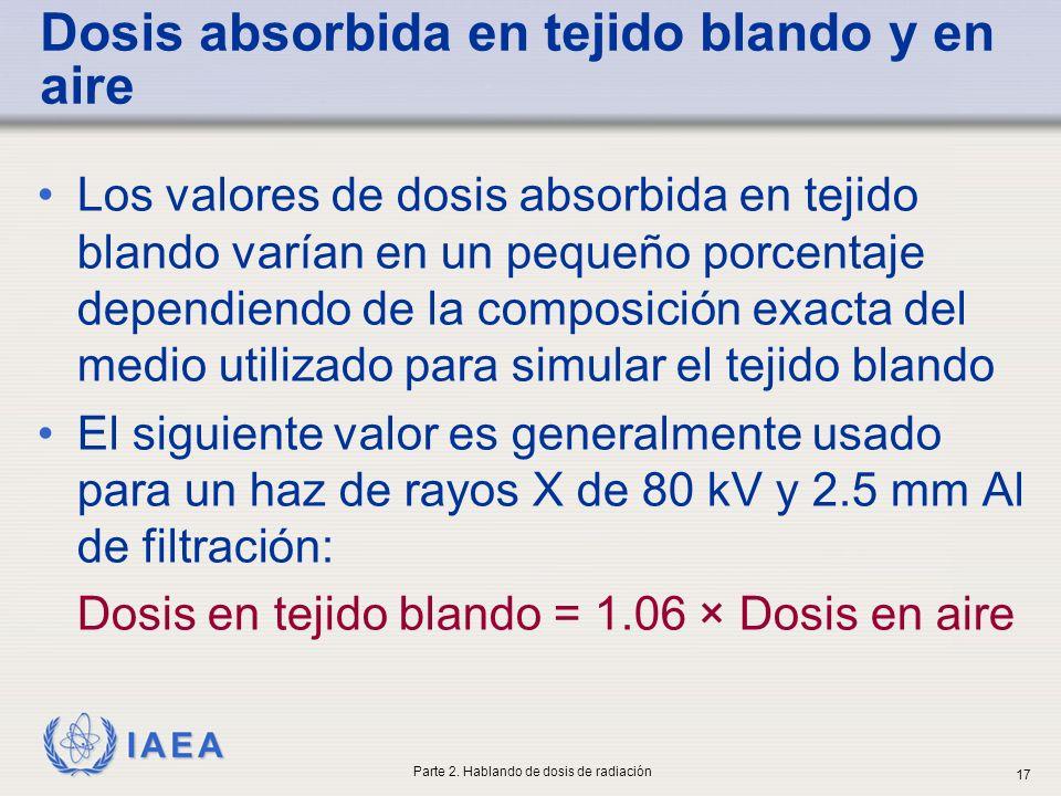 IAEA Dosis absorbida en tejido blando y en aire Los valores de dosis absorbida en tejido blando varían en un pequeño porcentaje dependiendo de la comp