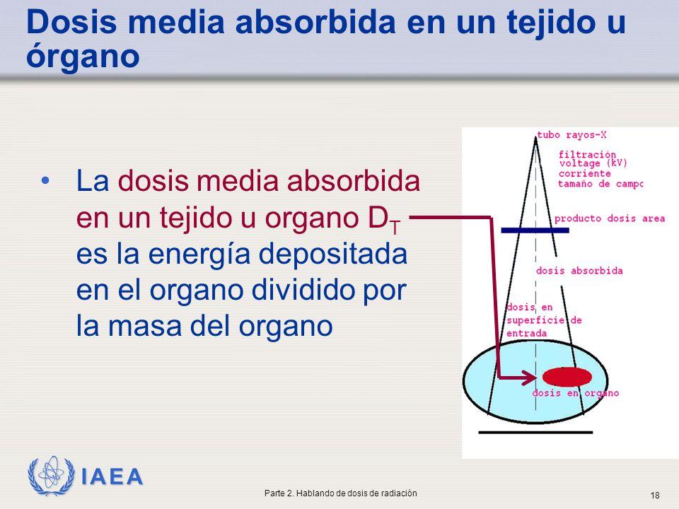 IAEA Dosis media absorbida en un tejido u órgano La dosis media absorbida en un tejido u organo D T es la energía depositada en el organo dividido por