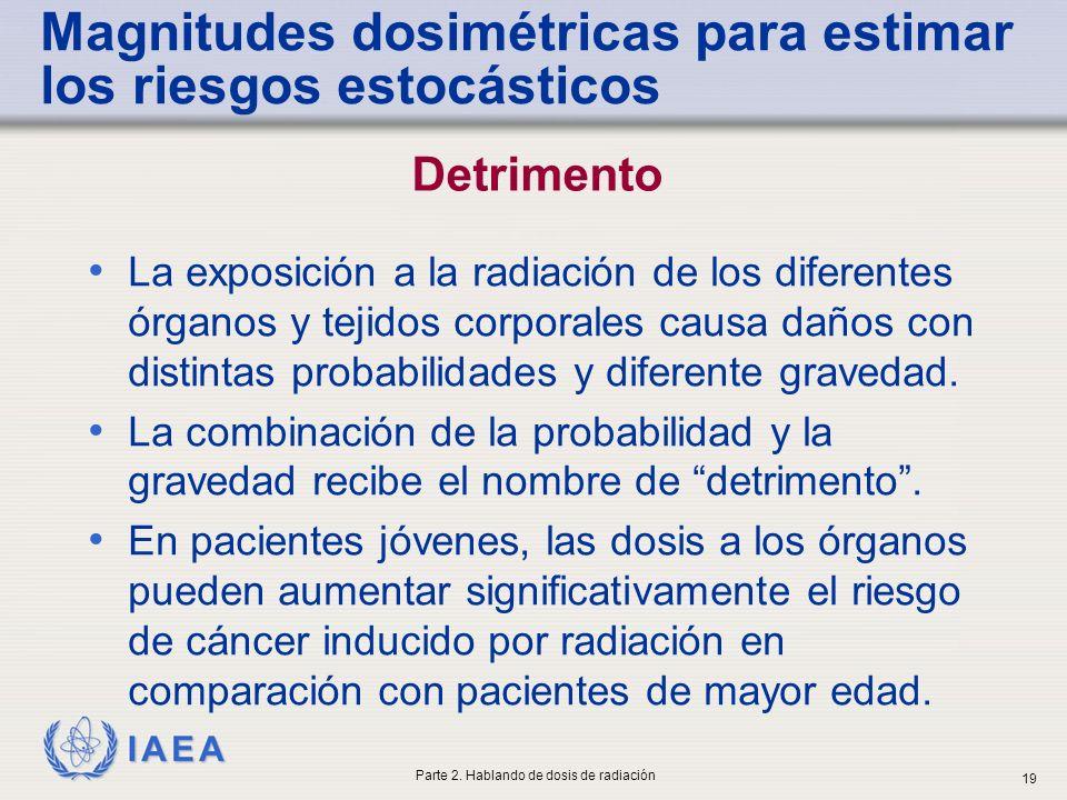 IAEA La exposición a la radiación de los diferentes órganos y tejidos corporales causa daños con distintas probabilidades y diferente gravedad. La com