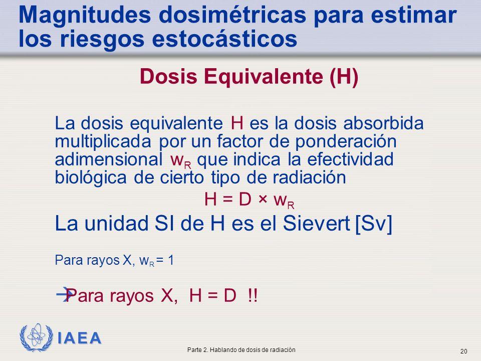 IAEA Dosis Equivalente (H) La dosis equivalente H es la dosis absorbida multiplicada por un factor de ponderación adimensional w R que indica la efect