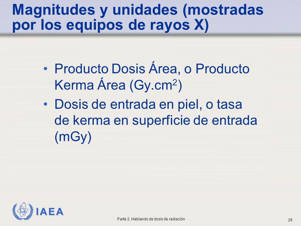 IAEA Magnitudes y unidades (mostradas por los equipos de rayos X) Producto Dosis Área, o Producto Kerma Área (Gy.cm 2 ) Dosis de entrada en piel, o ta