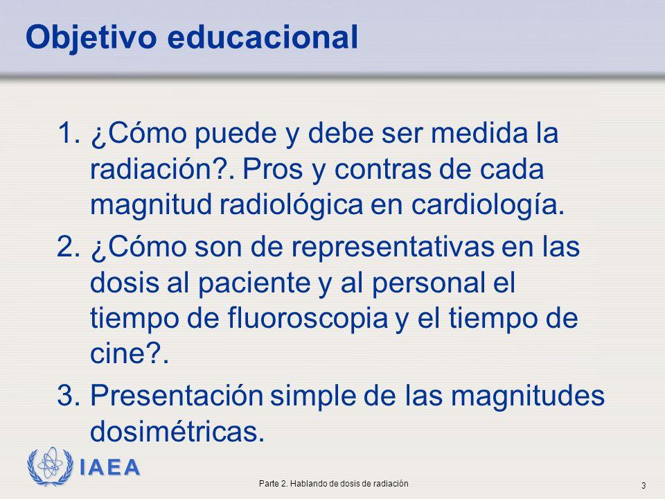 IAEA Objetivo educacional 1.¿Cómo puede y debe ser medida la radiación?. Pros y contras de cada magnitud radiológica en cardiología. 2.¿Cómo son de re