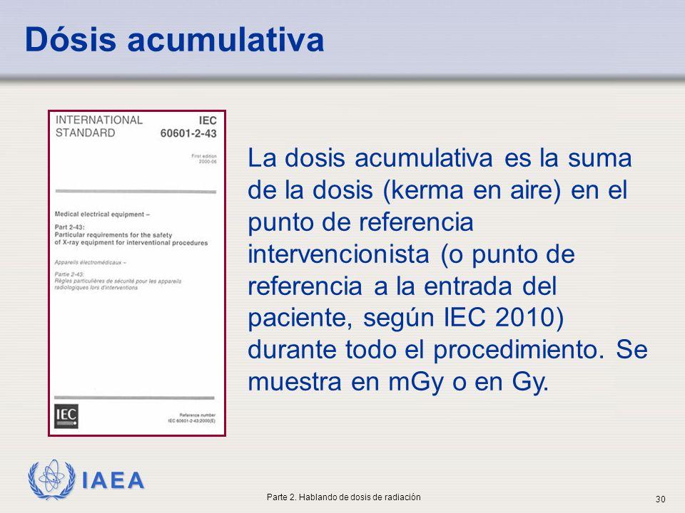 IAEA La dosis acumulativa es la suma de la dosis (kerma en aire) en el punto de referencia intervencionista (o punto de referencia a la entrada del pa
