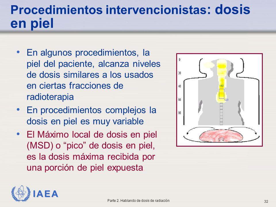 IAEA En algunos procedimientos, la piel del paciente, alcanza niveles de dosis similares a los usados en ciertas fracciones de radioterapia En procedi