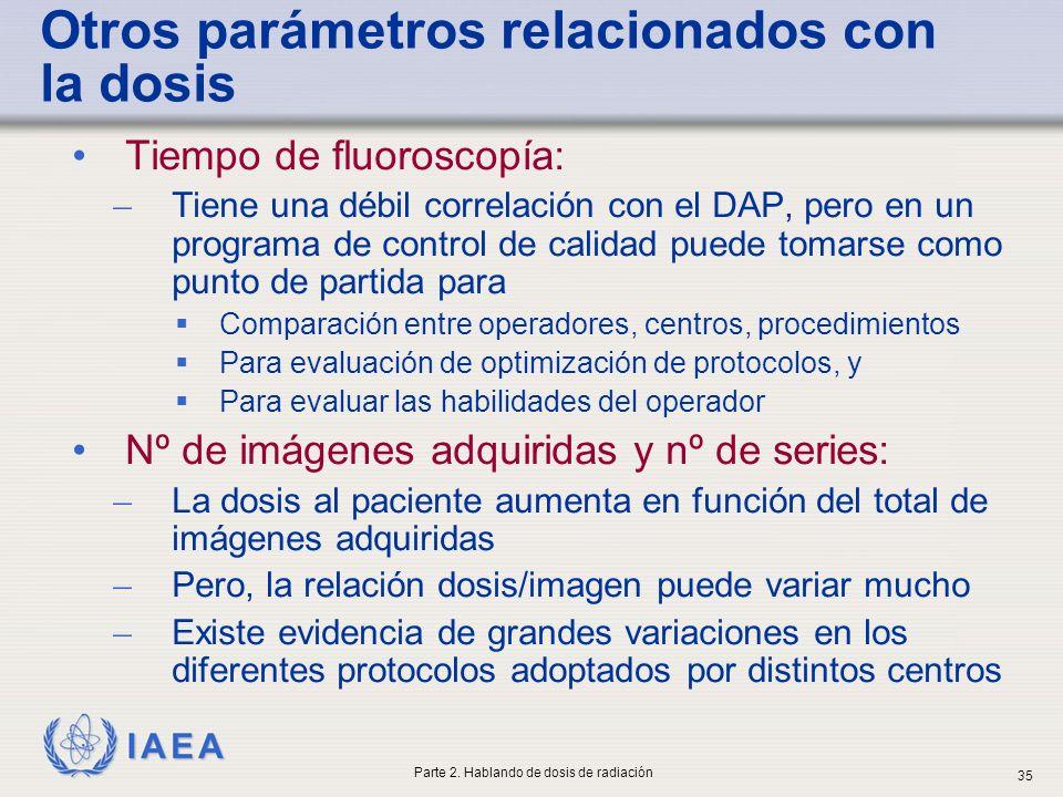 IAEA Otros parámetros relacionados con la dosis Tiempo de fluoroscopía: ̶ Tiene una débil correlación con el DAP, pero en un programa de control de ca