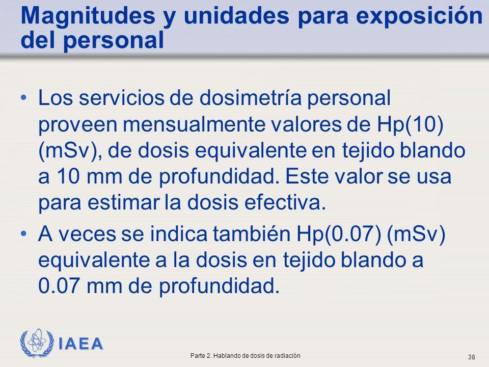 IAEA Magnitudes y unidades para exposición del personal Los servicios de dosimetría personal proveen mensualmente valores de Hp(10) (mSv), de dosis eq