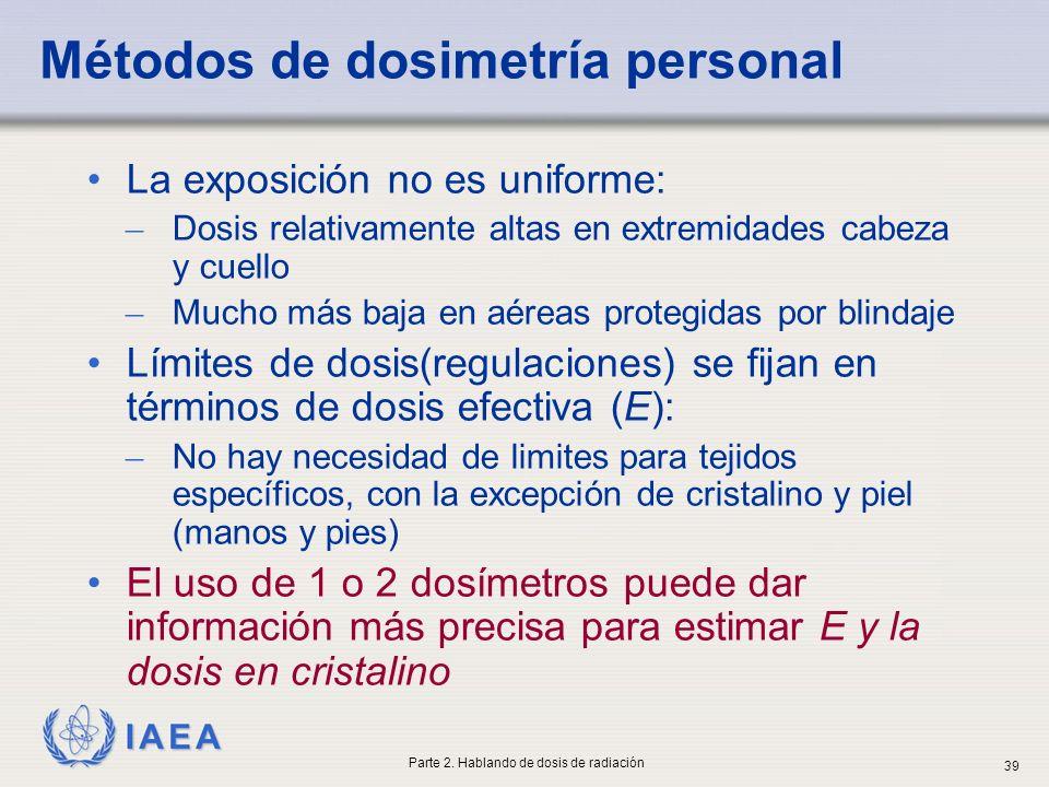 IAEA Métodos de dosimetría personal La exposición no es uniforme: ̶ Dosis relativamente altas en extremidades cabeza y cuello ̶ Mucho más baja en aére