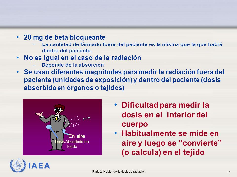 IAEA Magnitudes y unidades radiológicas Dosis absorbida La dosis absorbida D, es la energía absorbida por unidad de masa D = dE/dm La unidad SI de D es el gray Gy La dosis en la superficie de entrada incluye la dosis retrodispersa del paciente ESD D × 1.4 Parte 2.