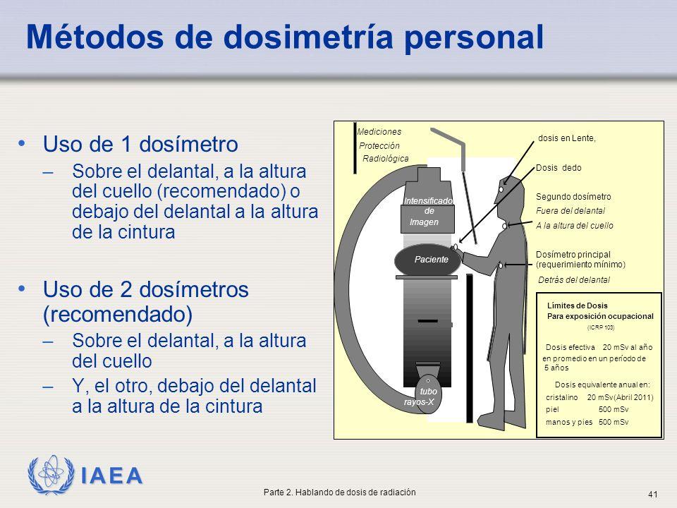 IAEA Métodos de dosimetría personal Uso de 1 dosímetro ̶ Sobre el delantal, a la altura del cuello (recomendado) o debajo del delantal a la altura de