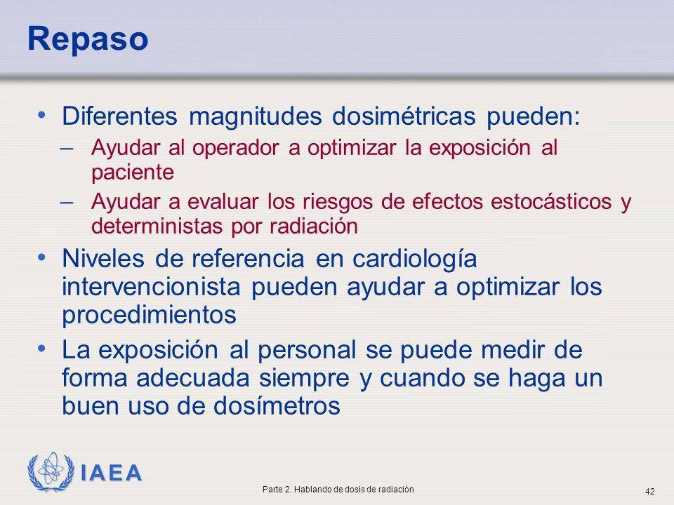 IAEA Repaso Diferentes magnitudes dosimétricas pueden: ̶ Ayudar al operador a optimizar la exposición al paciente ̶ Ayudar a evaluar los riesgos de ef