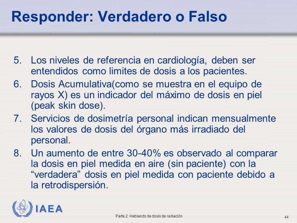 IAEA Responder: Verdadero o Falso 5.Los niveles de referencia en cardiología, deben ser entendidos como limites de dosis a los pacientes. 6.Dosis Acum