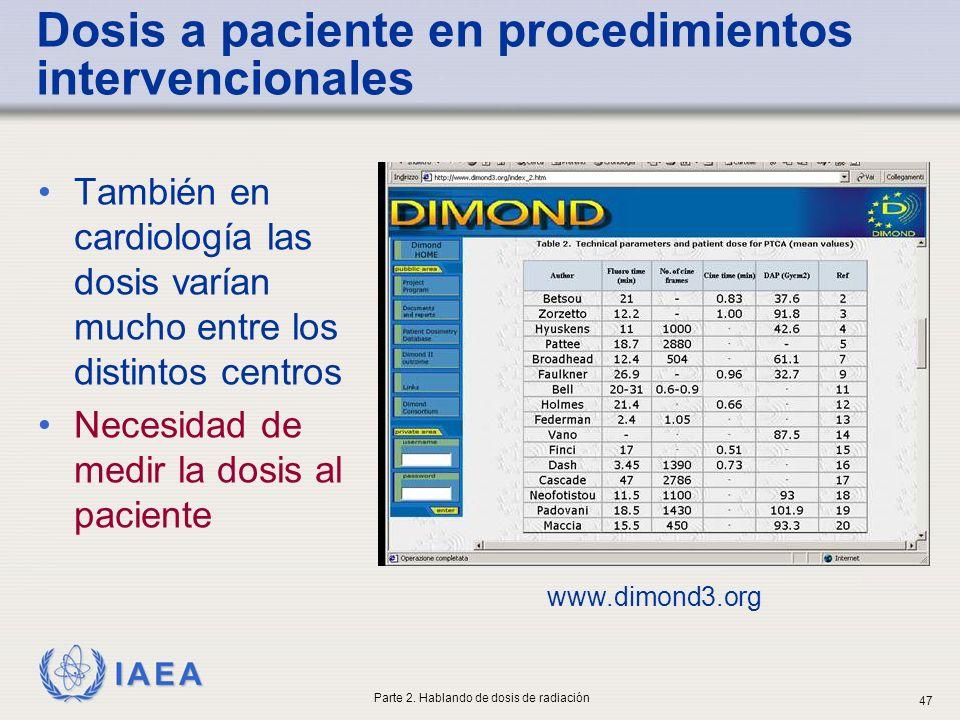 IAEA Dosis a paciente en procedimientos intervencionales También en cardiología las dosis varían mucho entre los distintos centros Necesidad de medir