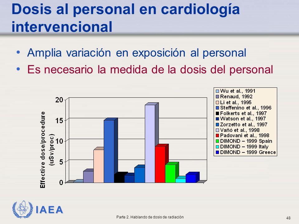 IAEA Dosis al personal en cardiología intervencional Amplia variación en exposición al personal Es necesario la medida de la dosis del personal Parte