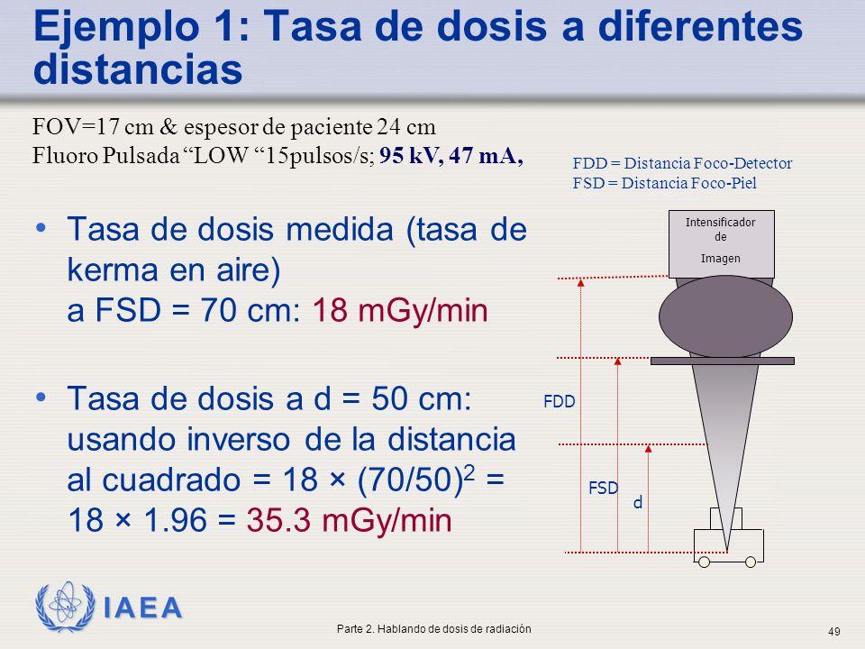 IAEA Ejemplo 1: Tasa de dosis a diferentes distancias Tasa de dosis medida (tasa de kerma en aire) a FSD = 70 cm: 18 mGy/min Tasa de dosis a d = 50 cm