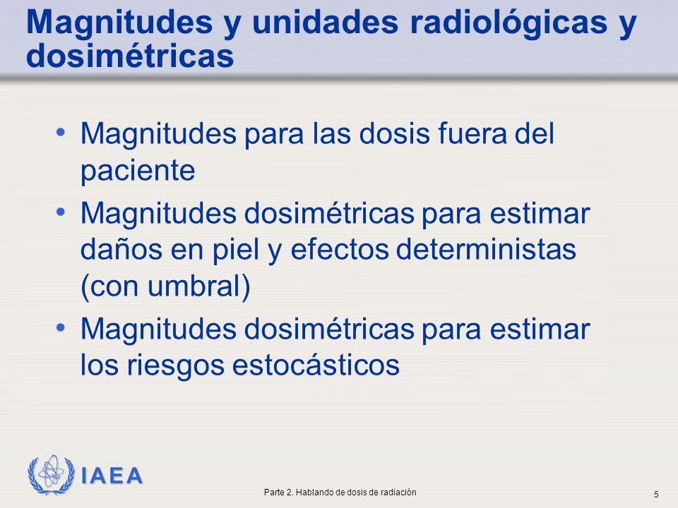 IAEA Magnitudes y unidades (mostradas por los equipos de rayos X) Producto Dosis Área, o Producto Kerma Área (Gy.cm 2 ) Dosis de entrada en piel, o tasa de kerma en superficie de entrada (mGy) Parte 2.