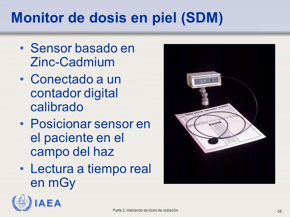 IAEA Monitor de dosis en piel (SDM) Sensor basado en Zinc-Cadmium Conectado a un contador digital calibrado Posicionar sensor en el paciente en el cam