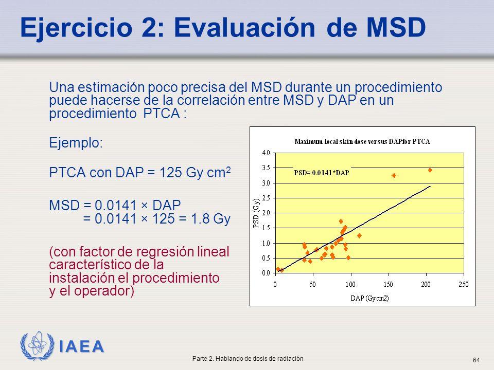 IAEA Una estimación poco precisa del MSD durante un procedimiento puede hacerse de la correlación entre MSD y DAP en un procedimiento PTCA : Ejemplo: