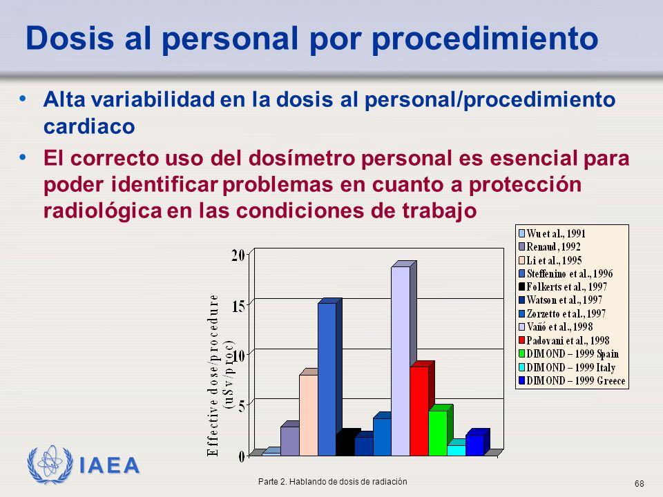 IAEA Dosis al personal por procedimiento Alta variabilidad en la dosis al personal/procedimiento cardiaco El correcto uso del dosímetro personal es es
