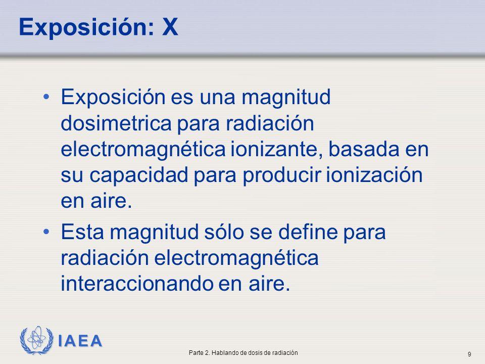 IAEA Exposición: X Antes de interaccionar con el paciente (haz directo) o con el personal (radiación secundaria), los rayos X interaccionan con el aire La magnitud exposición se refiere a la capacidad de los rayos X para producir ionización en aire Los efectos en tejido serán, en general, proporcionales a este efecto en aire Parte 2.