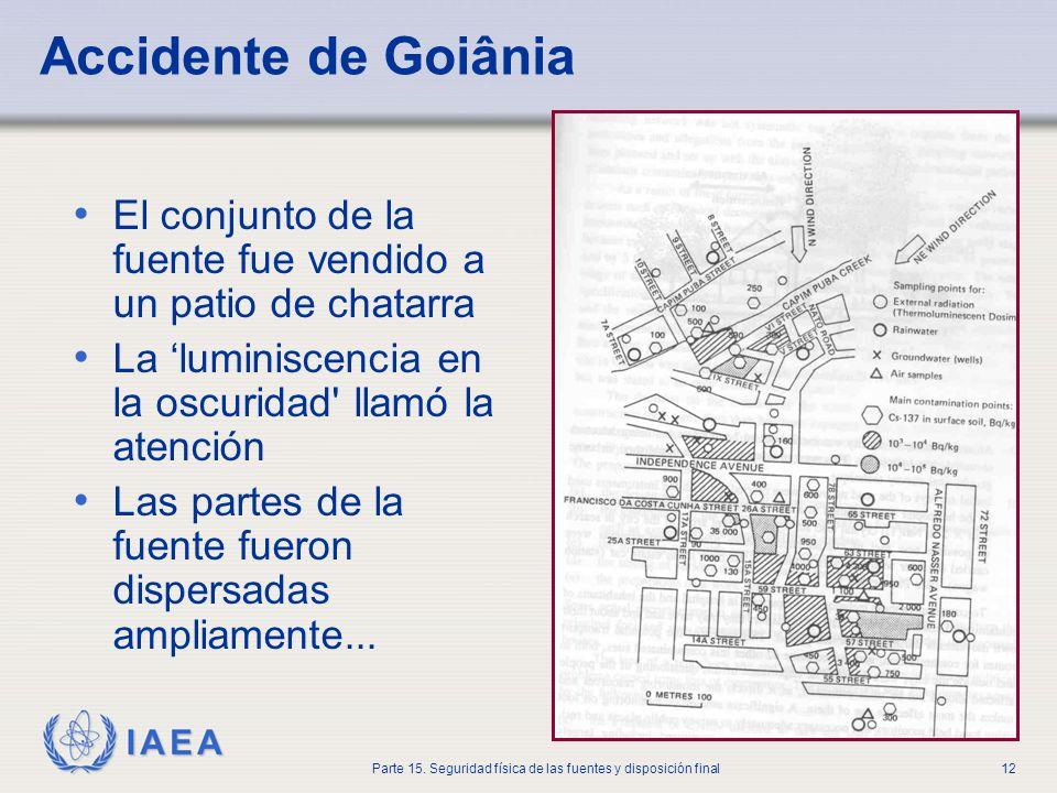 IAEA Parte 15. Seguridad física de las fuentes y disposición final12 Accidente de Goiânia El conjunto de la fuente fue vendido a un patio de chatarra