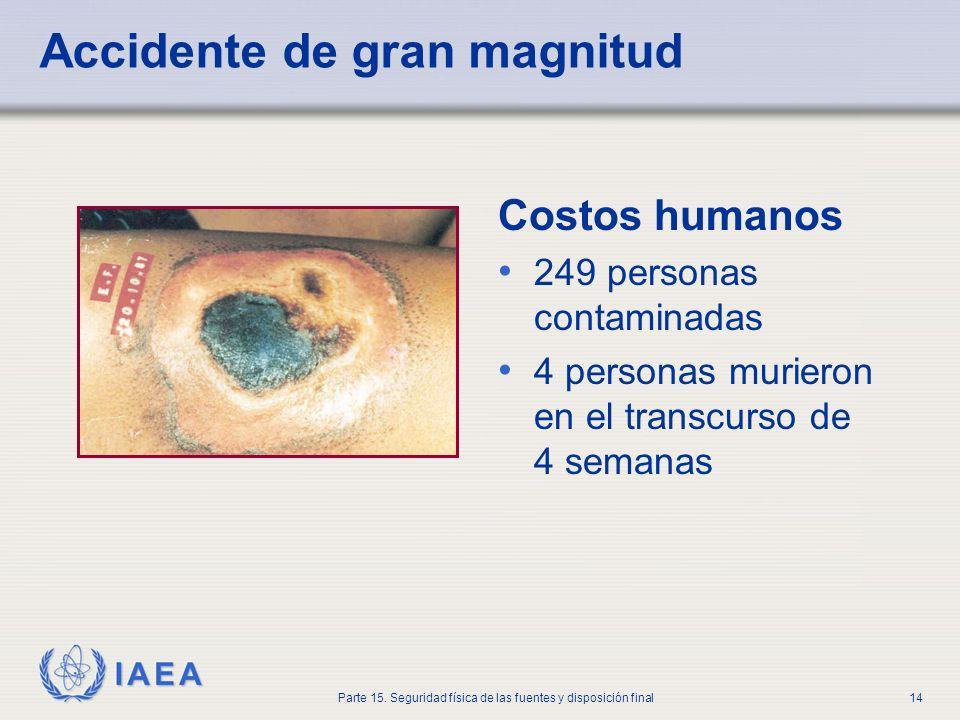 IAEA Parte 15. Seguridad física de las fuentes y disposición final14 Accidente de gran magnitud Costos humanos 249 personas contaminadas 4 personas mu