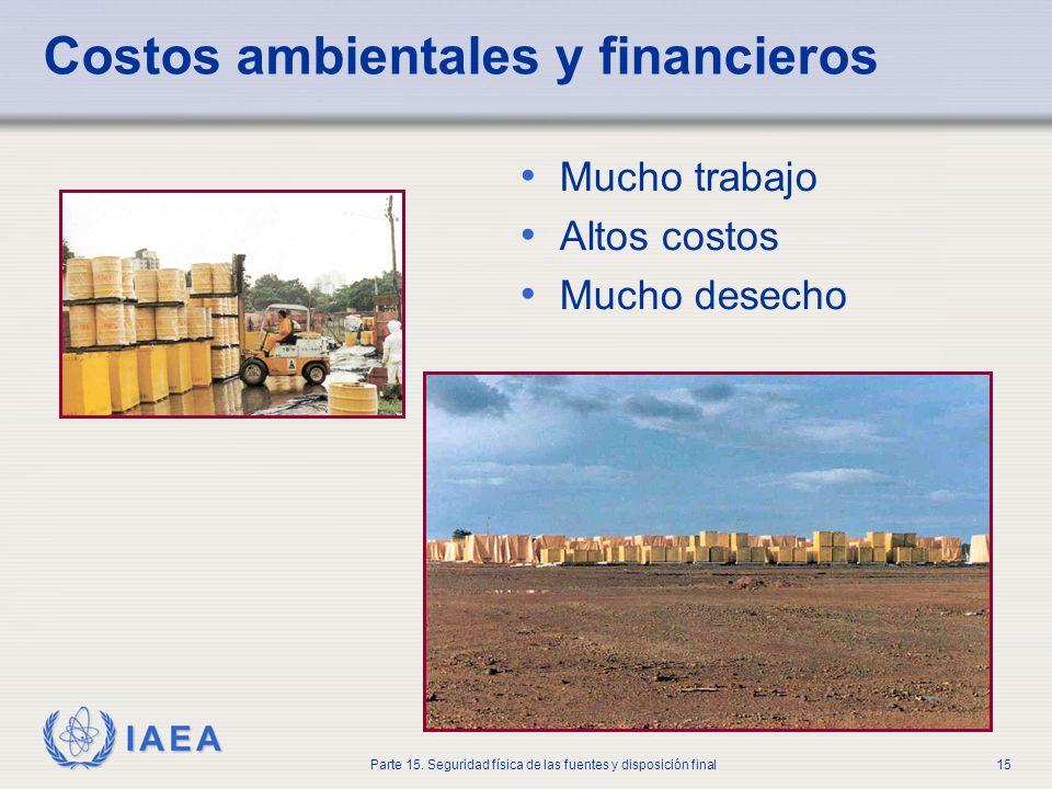 IAEA Parte 15. Seguridad física de las fuentes y disposición final15 Costos ambientales y financieros Mucho trabajo Altos costos Mucho desecho